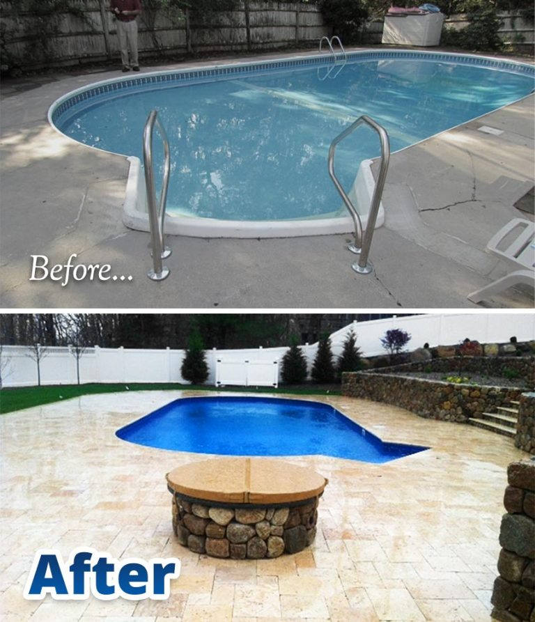 Before and After pool renovation comparison