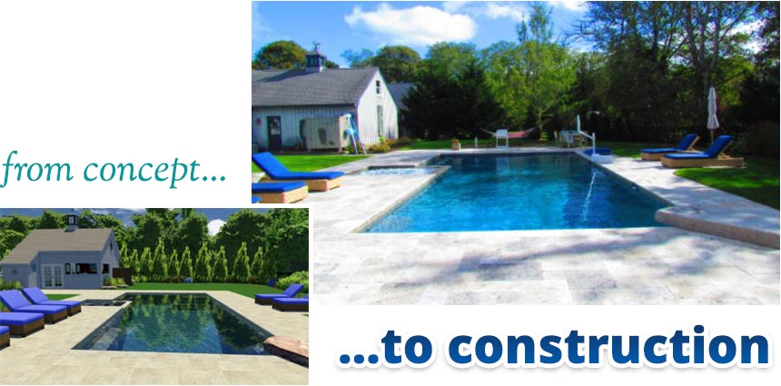 3D rendering of pool design concept next to the completed pool project